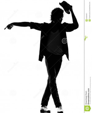 Full length silhouette of a young man dancer dancing funky hip hop r&b ...