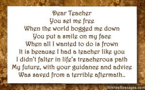 Poems That Rhyme For Teachers Inspirational poem for teacher