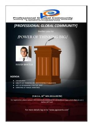 Power of thinking big 30th nov 2013 ymca cp del 6 pm