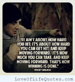 Rocky Balboa quote on getting up after you get knocked down