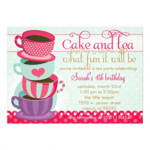 ... Pink and Blue Cute Cups Tea Birthday Party Personalized Invitations