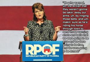 Sarah Palin misreading the purpose of Paul Revere's midnight ride ...