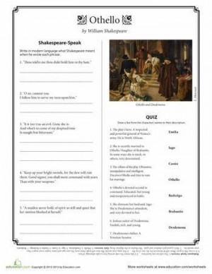 Worksheets: Othello Quotes