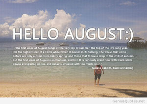 Hello august poem quote with image