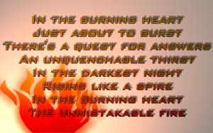 Burning Heart - Survivor Song Lyric Quote in Text Image