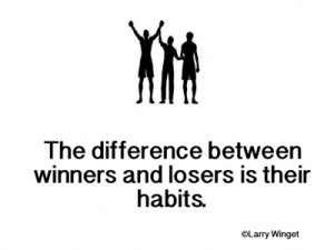Larry Winget Quote - The difference between winners and losers. . .