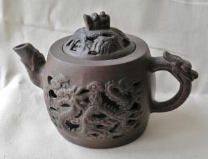 Chinese Zisha teapot, dark Zisha-ware, double-wall, both sides ...