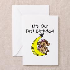 Twin Girls 1st Birthday Greeting Cards (Pk of 10) for