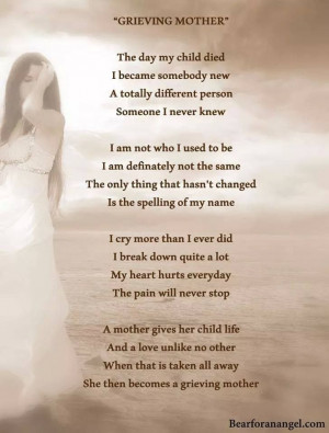 grieving mother. the day my child died...