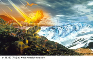 Artwork of dinosaur extinction by asteroid impact