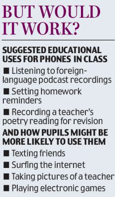 Children should be allowed to use mobiles in class because they ...
