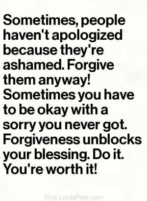 Forgiveness Unblocks your Blessings., Uplifting quote on forgiveness ...