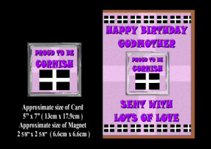 Happy Birthday GodMother Card & Magnet Gift Proud To Be Cornish