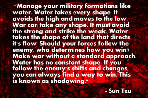 Part of Sun Tzu's philosophy was adapting to situations like water ...