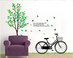 ... 200x180cm big green tree and bike engsish quote home Decorative Poster