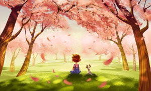 Boy and dog under cherry blossom trees cartoon illustration via www ...
