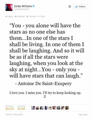 ... father with a touching tribute - a quote from 'The Little Prince