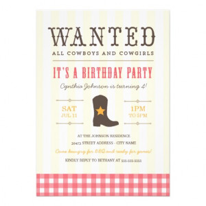 Yeehaw! Cowgirl Birthday Party Invitation from Zazzle.com