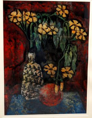 Vase With Flower' - Swapan Saha - Acrylic on Acrylic Sheet - 24