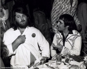 Brian Wilson attending Keith Moon's 28th birthday party on August 23 ...