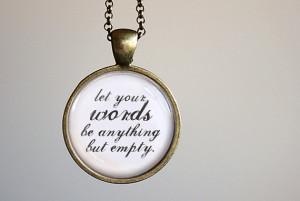 Sara Bareilles Inspired Lyrical Quote Pendant Necklace