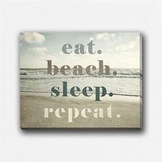 ... Quote, Beach Wall Art Canvas, Ocean, Eat Beach Sleep Repeat, Funny