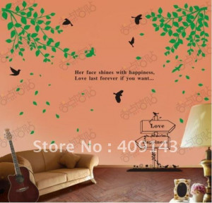 love happiness tree flower bird her face shines vinly PVC wall sticker ...