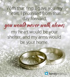 you'll never walk alone again' would be a perfect marriage vow More