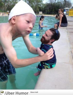 Man friend took his infant son swimming this past weekend. I couldn ...