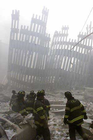 ... Judge, FDNY Chaplain, being carried from the scene,September 11, 2001