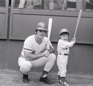 Cincinnati Reds legend Pete Rose gives batting tips to his son Pete ...
