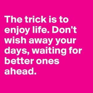 Cherish Each Day and Don't Wait for Tomorrow to Enjoy Your Life