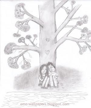 easy emo love drawings. emo cartoon drawings. emo love