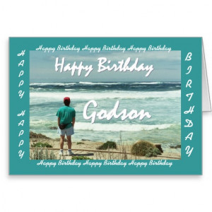 GODSON Happy Birthday - Man and Ocean Waves Greeting Card