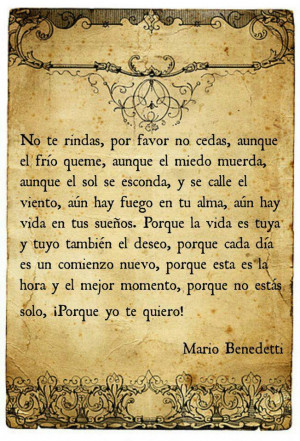 Mario Benedetti.(!Porque yo te quiero): I Love You, Book Of Shadows ...