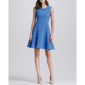 halston heritage flare skirt dress cap sleeve in blue sky blue