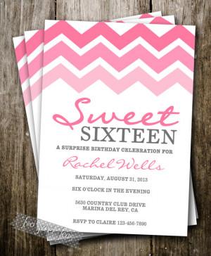 Pink Ombre Invitation Chevron Girly Teen Tween Sweet 16 Sleepover