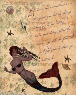 Pretty Primitive Mermaid Inspirational Life Force Quote Art Wall Print