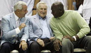 UNC coach Roy Williams, from left, former coach Dean Smith, and former ...
