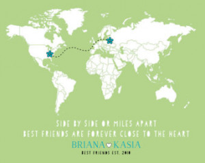 Long Distance Best Friend Gift - 8x10 Custom Map, Flowers, Moving Away ...
