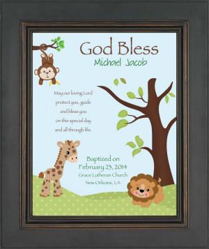 BAPTISM personalized Gift - Gift for Godson - Custom Christening Print ...