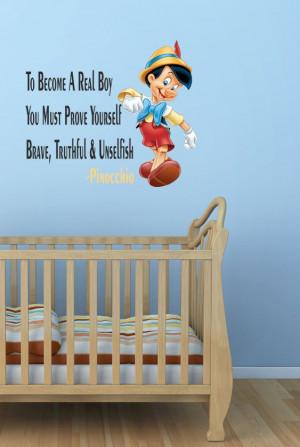 Walt Disney Pinocchio Wall Quote Sticker Decal Boys Room Art Vinyl ...