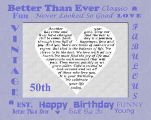 50th Birthday Gift Poem 8 X 10