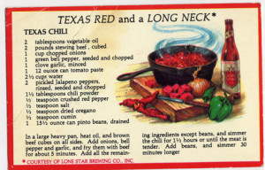 , an open bottle of Lone Star beer – and a recipe for Texas Chili ...