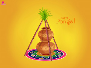 ... Card with SMS and Messages Happy Harvest Festival Celebration Pongal