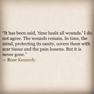 , time heals all wounds. I do not agree. The wounds remain. In time ...