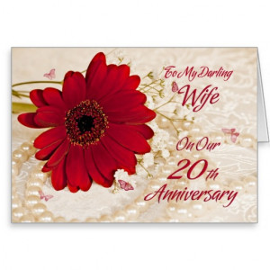 Wife on 20th wedding anniversary, a daisy flower cards
