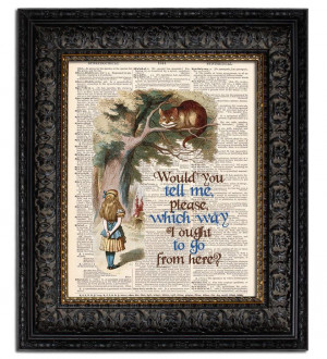 art vintage ALICE in Wonderland CHESHIRE CAT with book quote book ...