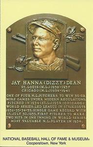 Dizzy Dean Baseball Hall Of Fame Induction Plaque Postcard Cardinals