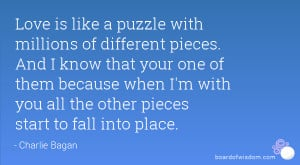 like a puzzle with millions of different pieces. And I know that your ...